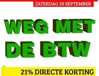 Geen BTW (-21%) op zaterdag de 28ste bij Ravens webshop!