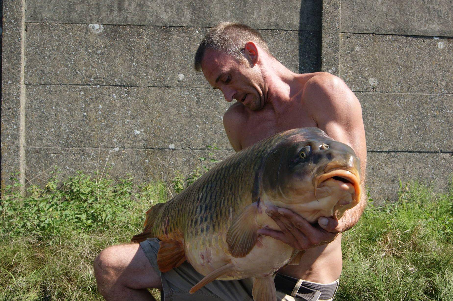 Helaas is de foto niet van de allerbeste kwaliteit. Toch is duidelijk te zien dat het om een gigantische vis gaat.