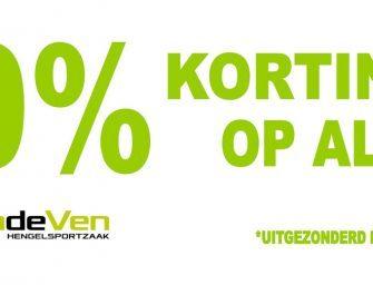 20% korting bij Hengelsportzaak Van de Ven