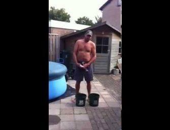 Fred pakt geen water maar tijgernoten bij de ALS ICE Challenge