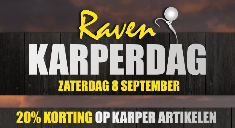 Karperdag Raven: Deze zaterdag 20% korting op karper artikelen!